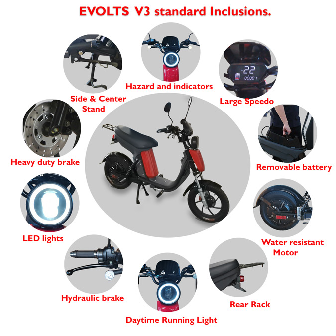 Evolts Electric Mopeds New Version Three 7
